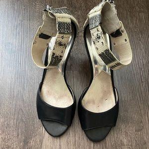 Michael Kors Snakeskin Open Toe Heels -Ankle Strap